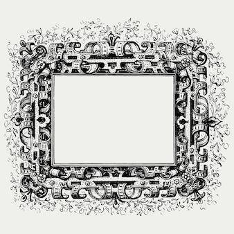 Средневековая рамка в черно-белом