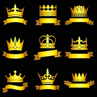 Medieval gold crowns and ribbon set