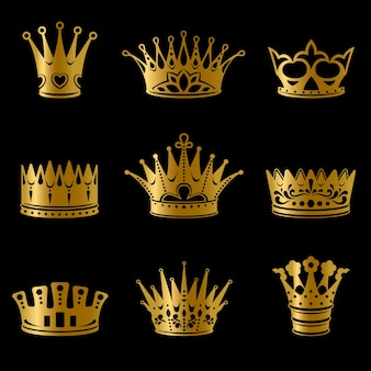 Medieval gold royal crowns collection
