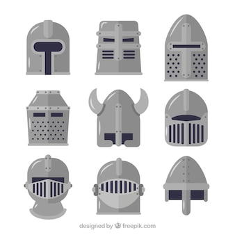 Medieval helmets with flat design