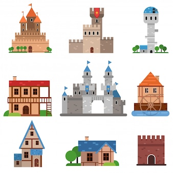 Medieval historical buildings of different countries set, towers, castles, forts, houses cartoon   illustrations