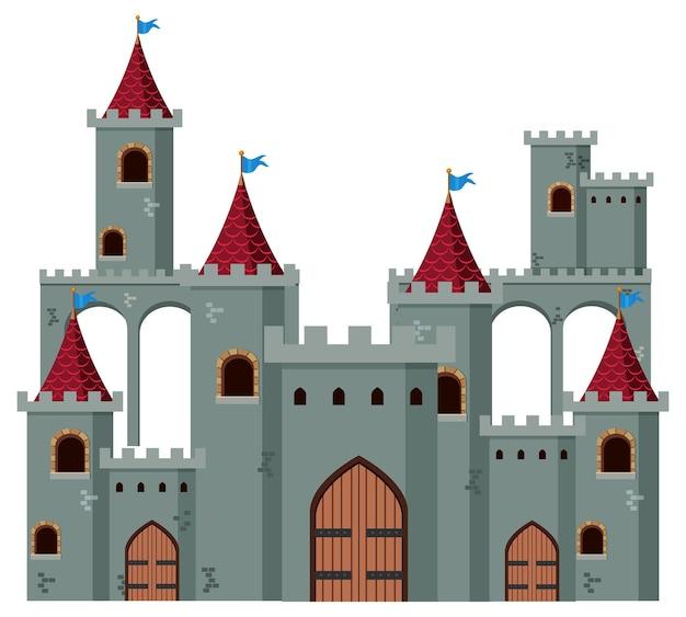 白い背景の上の中世の歴史的な城