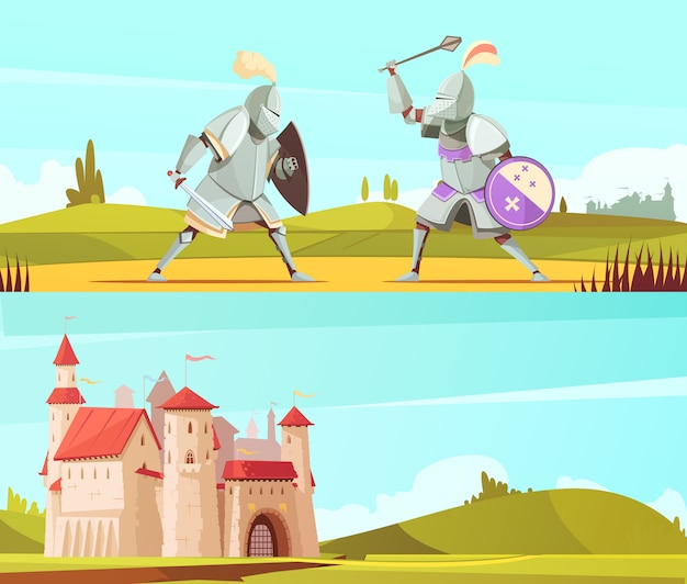 Medieval horizontal cartoon banners set