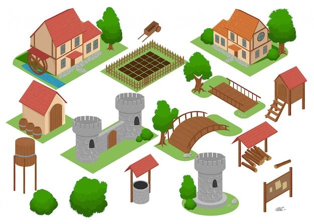 중세 집 타일 온라인 전략 안드로이드 비디오 게임 인사이트. 개발지도 요소 아이소 메트릭 중세 건물 및 밀 탐색 게임 골동품 마을 집 아이콘 세트 컬렉션.