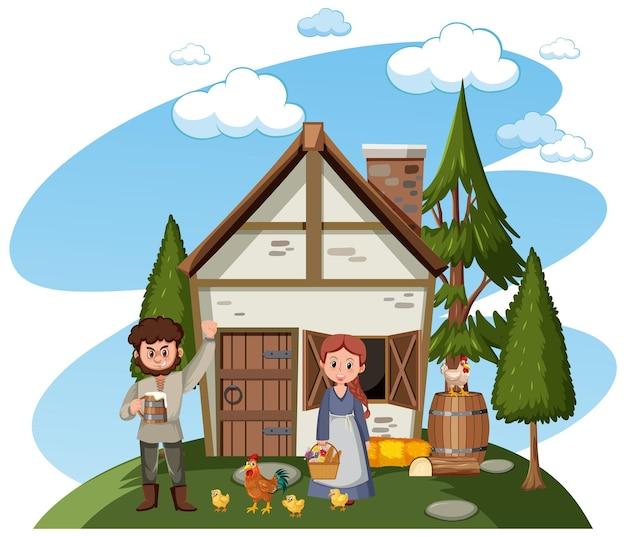 마을 사람들과 농장 동물이 있는 중세 집