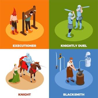 Medieval isometric design concept with torture scene knightly duel blacksmith during work isolated vector illustration