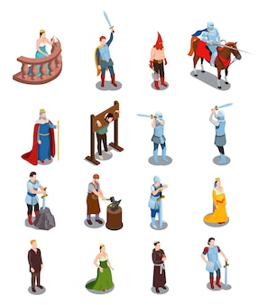 Medieval isometric icons with royal persons knights torture scene priest