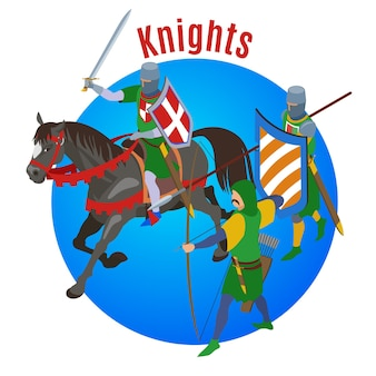 Medieval isometric with round composition horse and three human characters of cold warriors with text illustration