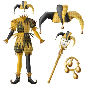 Medieval jester costume elements, checkered, black and yellow colors hat with bells