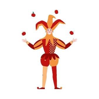 Средневековый шут в костюме жонглирует яблоками плоские векторные иллюстрации изолированные