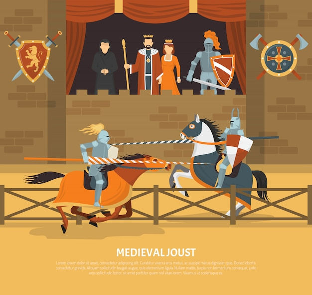 Medieval joust illustration