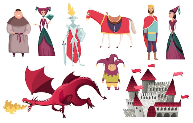 Medieval kingdom characters of middle ages historic period illustration design