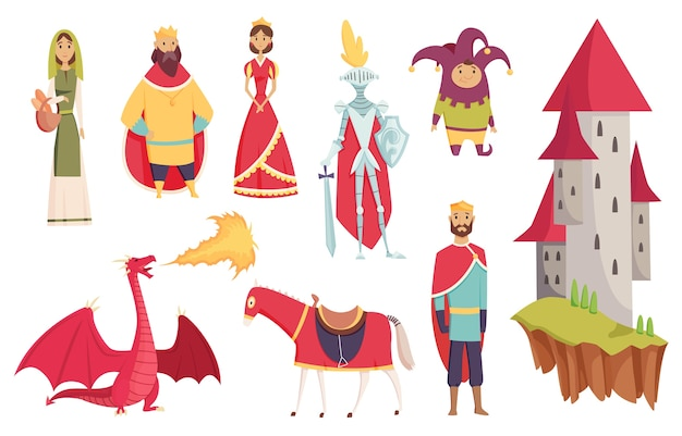 Medieval kingdom characters of middle ages historic period illustrations