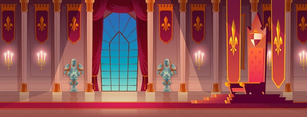 Medieval kings palace throne hall cartoon