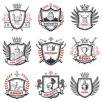 Medieval knight coats of arms set