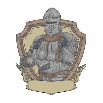 Medieval knight in drawing style