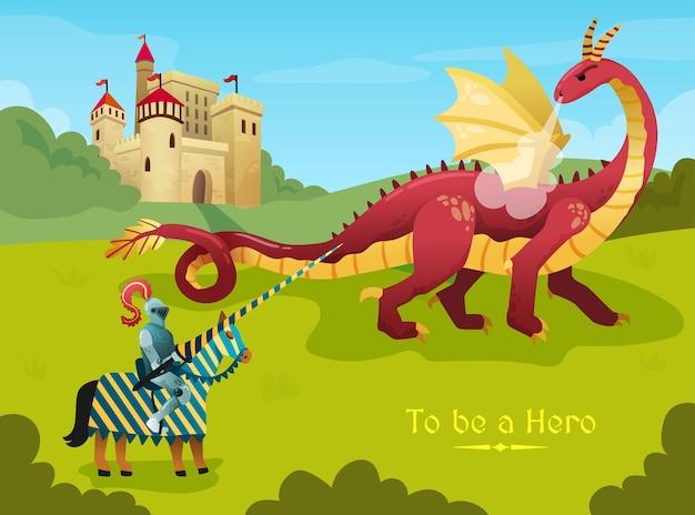 Medieval knight hero duels huge fire breathing dragon outside royal castle flat fairy tale scene