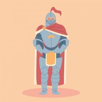 鎧を着た中世の騎士、騎士の衣装