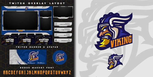 Medieval knight logo for e-sport gaming mascot logo and twitch overlay template