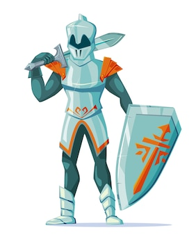 Medieval knight wearing armor with swords and shield stand