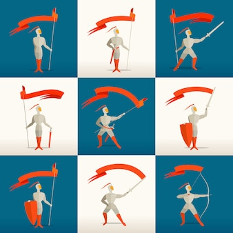 Средневековые рыцари с копьем, мечом, щитом, луком и флагом, знаменем