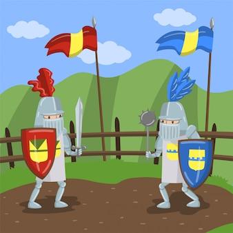 Средневековый рыцарский турнир, два амедовых рыцаря, сражающиеся на фоне летнего пейзажа
