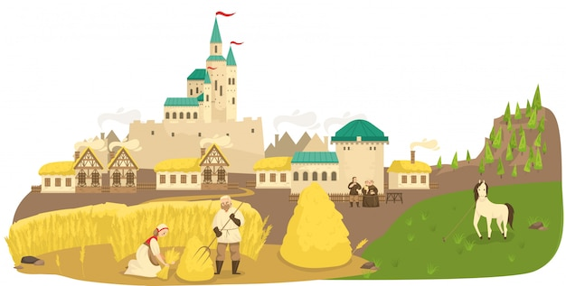 Medieval life peasants working in field, horse, castle and old european buildings landscape cartoon  illustration.