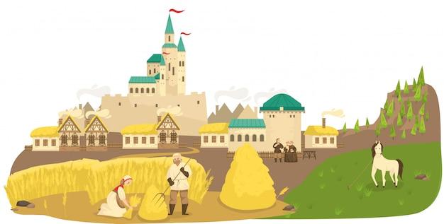 Крестьяне средневековой жизни работая в поле, лошади, замке и старых европейских зданиях благоустраивают иллюстрацию шаржа.