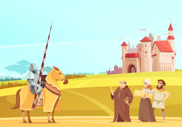 Medieval life scene cartoon