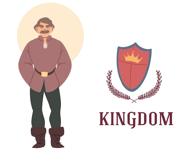 Medieval man and shield design of kingdom and fairytale