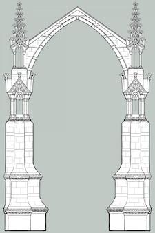 Средневековая рукопись в стиле прямоугольной рамки. готический стиль заостренной арки, образованной летающими контрфорсами.