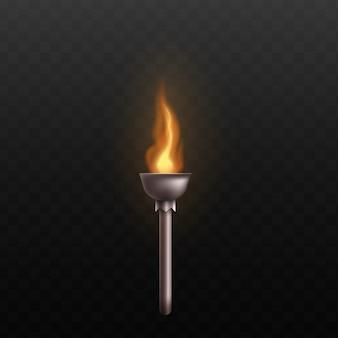 燃える火のある中世の金属トーチ-リアルな熱い金色の炎で飾られた銀鋼の棒-