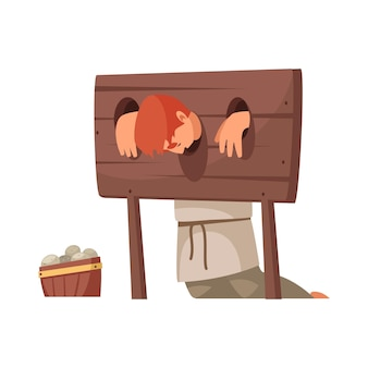 Medieval people cartoon with man in wooden stocks