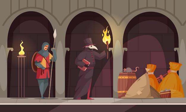 中世の人々は、中世の城の廊下で2人の人々とヒーラーの構成を悩ませています