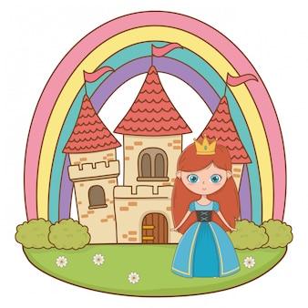 Medieval princess cartoon illustration