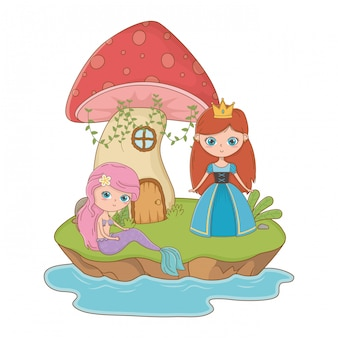 Medieval princess of fairytale design vector illustration