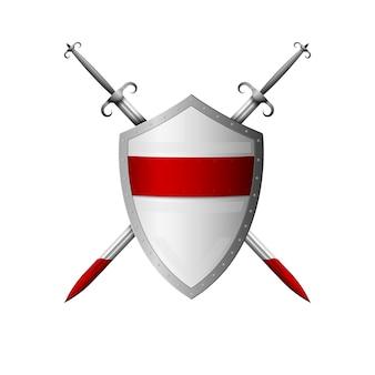中世のリアルな盾と剣。