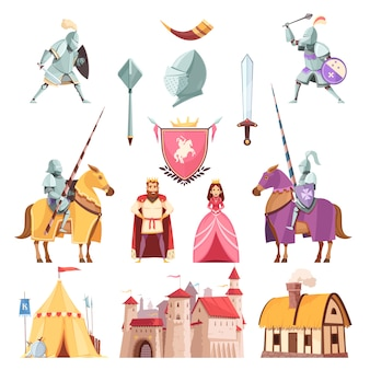 Medieval royal heraldry cartoon set