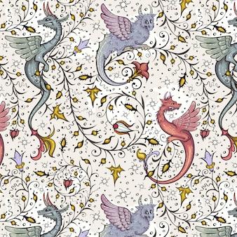 Medieval seamless pattern ancient book miniature magic manuscriptillustration