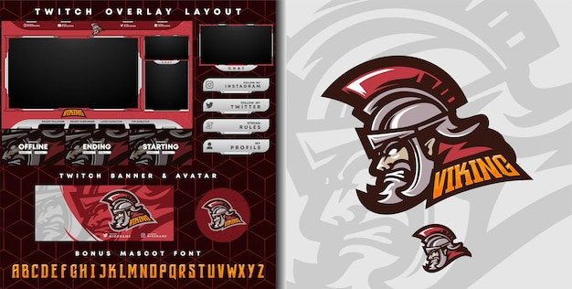 Medieval spartan knight logo for e-sport gaming mascot logo and twitch overlay template