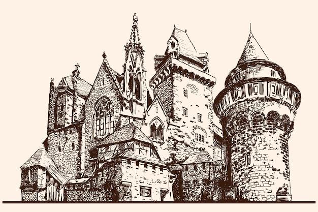 타워와 중세 돌 성입니다. 빠른 선형 스케치.