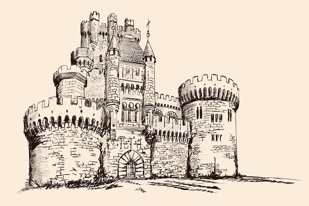 Medieval stone castle with towers on the plain.