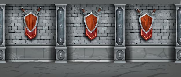 Средневековая каменная стена бесшовная текстура кирпичный замок темница фон деревянный щит меч флаг