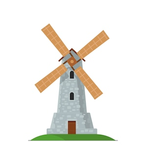 Medieval stone windmill isolated icon