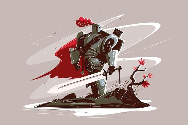 Medieval strong knight vector illustration.