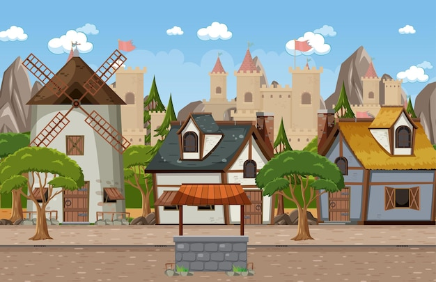 Medieval town scene with castle background