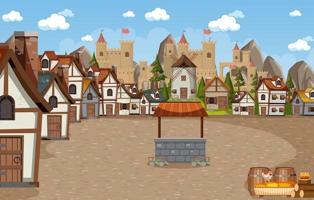 성 배경으로 중세 마을 장면