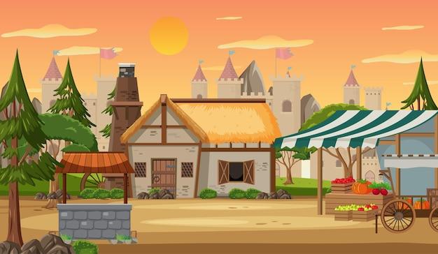 Средневековый город с рыночной площадью