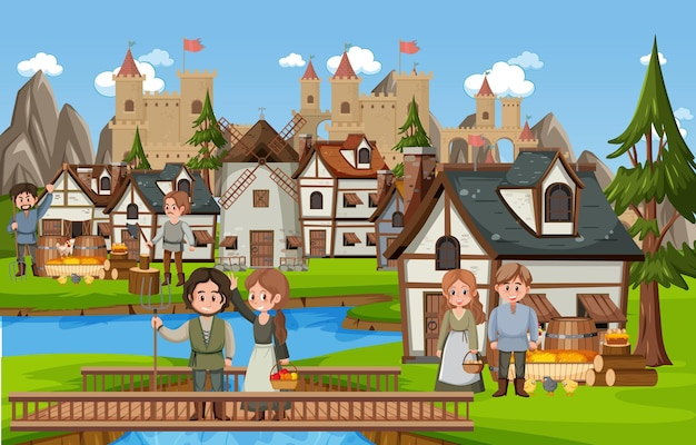 Medieval town scene with villagers