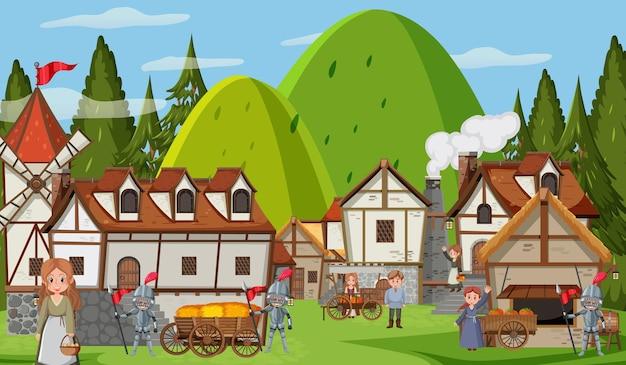 마을 사람들이 있는 중세 마을 풍경